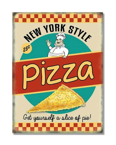 New York Style Pizza - Vintage Restaurant Wall Sign