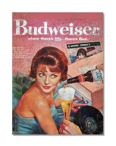 Budweiser Where There's Life - Vintage Beer Advertisement Metal Bar Sign