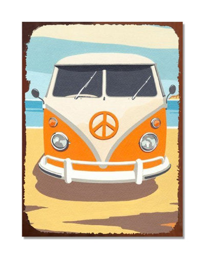 VW Campervan - Vintage Poster - Automotive Metal Garage Wall Sign