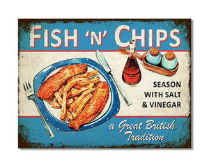 Fish N Chips A Great British Tradition - Vintage Metal Restaurant Wall Sign