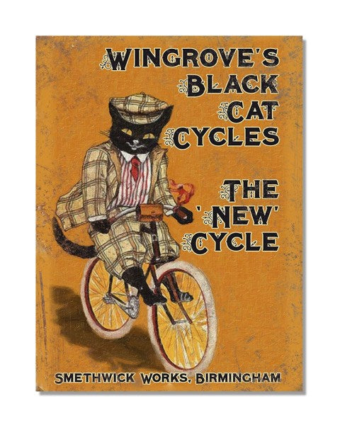 Wingroves Black Cat Cycles - Vintage Bicycle Advertisement Wall Sign