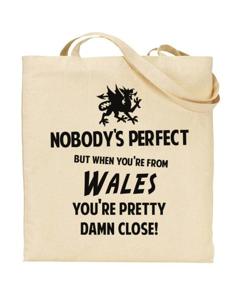 Nobody's Perfect - WALES - Canvas Shopper Tote Bag