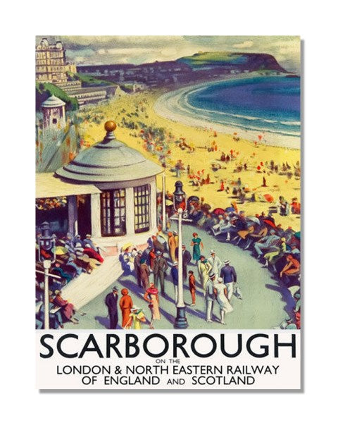 Scarborough Travel By Train British Railway - Vintage Railway Metal Wall Sign