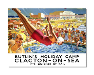 Butlin's Holiday Camp Clacton-On-Sea - LNER Vintage Railway Metal Wall Sign