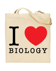 I Love (Heart) Biology Canvas Shopper Tote Bag