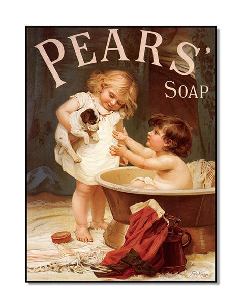Pears Soap Puppy And A Bathtub - Vintage Soap Advert Wall Sign
