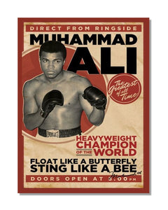 Muhammad Ali Boxing Sting Like a Bee  - Vintage Boxing Metal