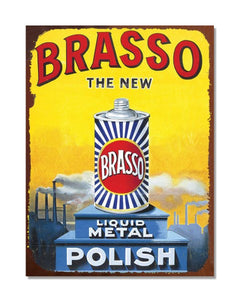 Brasso The New Liquid Metal Polish - Metal Garage Wall Sign