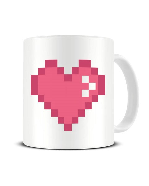 Pink Pixel Heart - Video Game Inspired Ceramic Mug