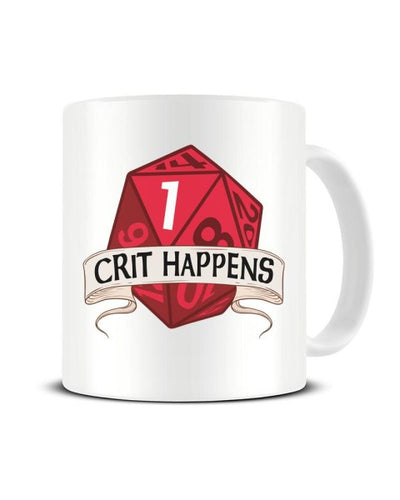 Crit Happens Funny 20 Sided Dice Fantasy Board Game Ceramic Mug