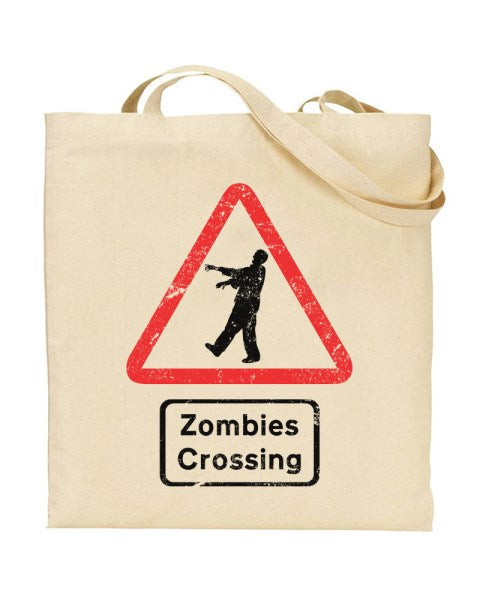 Zombies Crossing Sign - Canvas Shopper Tote Bag
