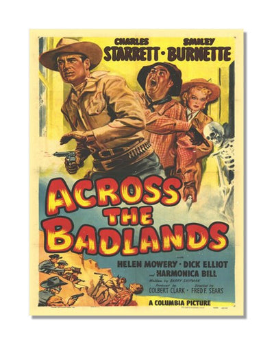 Across The Badlands - Vintage Movie Poster Metal Wall Sign