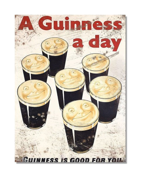 A Guinness A Day - Vintage Beer Advertisement Metal Bar Wall Sign