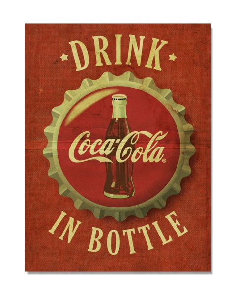 Drink Coca Cola In Bottle - Vintage Advertising Poster Metal Kitchen Wall Sign