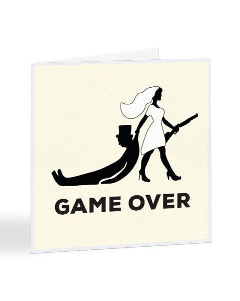 Game Over Bride And Groom Shotgun Wedding Greetings Card