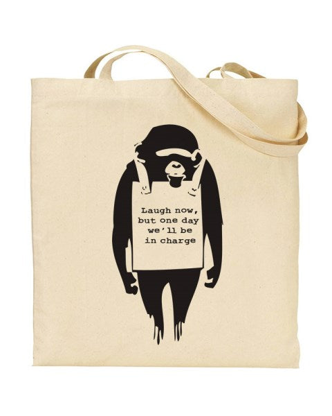 Banksy Laugh Now Chimp - Graffiti Art Canvas Shopper Tote Bag