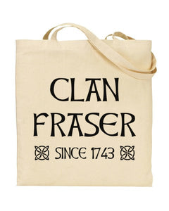 Clan Fraser Since 1743 - Outlander Inspired - Canvas Shopper Tote Bag