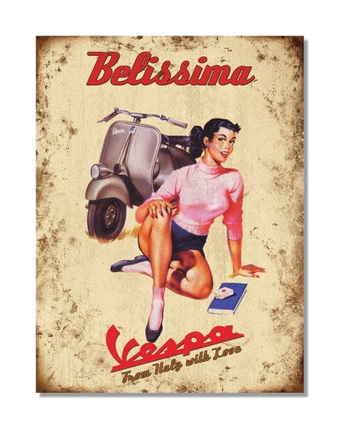 Vespa Retro Advert Belissima - Vintage Automotive Metal Garage Wall Sign