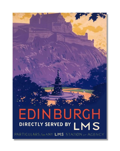Edinburgh Directly Served By LMS - Vintage Railway Metal Wall Sign