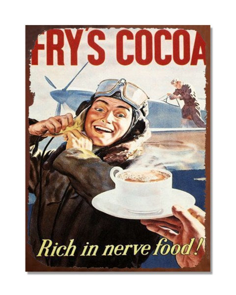 Fry's Cocoa - Old War Poster - Funny Vintage Kitchen Wall Sign
