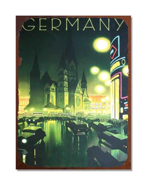 Germany Holiday Destination Poster - Vintage Metal Advertisement Wall Sign