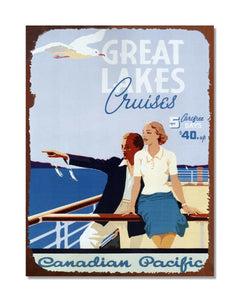 Great Lakes Cruises - Vintage Metal Cruise Advertisement Wall Sign