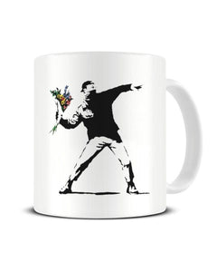 Banksy Flower Thrower Funny Graffiti Street Art Ceramic Mug