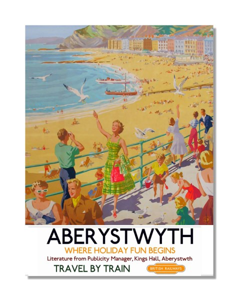 Aberystwyth Travel By Train British Railways - Vintage Railway Metal Wall Sign
