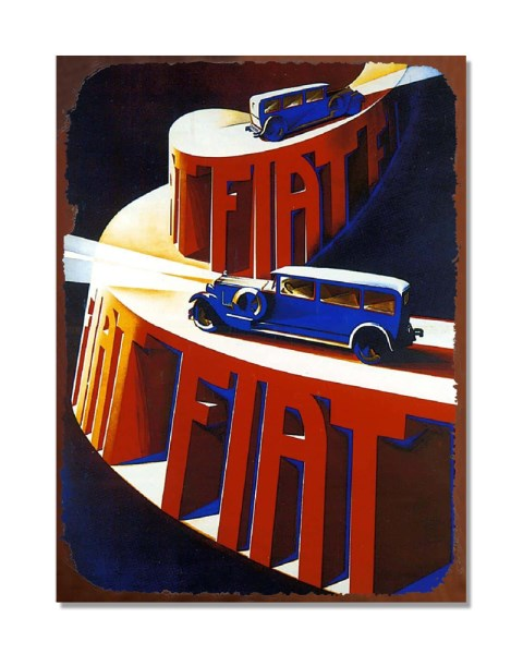 Fiat Vintage Advertisement - Automotive Metal Garage Wall Sign