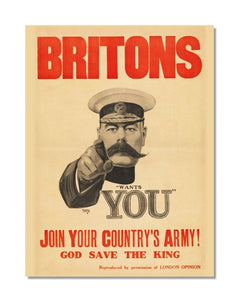 Britons Wants You Lord Kitchener WW1 - Vintage World War Metal Sign
