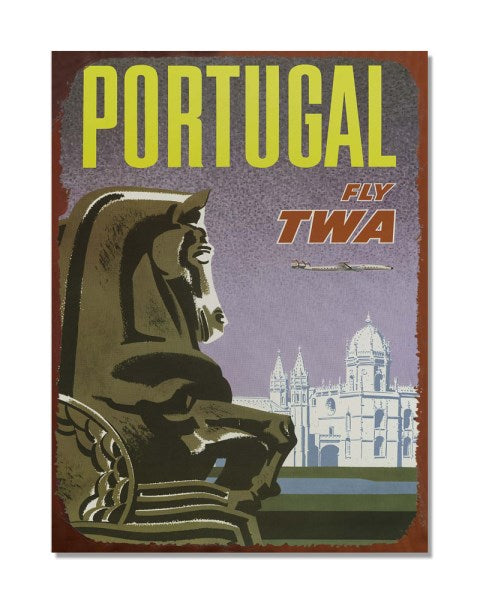Portugal Fly TWA Airways Advert - Vintage Metal Advertisement Wall Sign