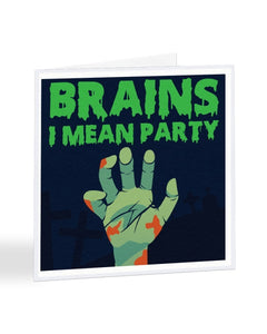 Brains I Mean Party - Halloween Party - Funny RSVP Greetings Card