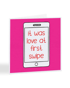 It Was Love At First Swipe Tinder Dating Joke Valentine's Day Greetings Card