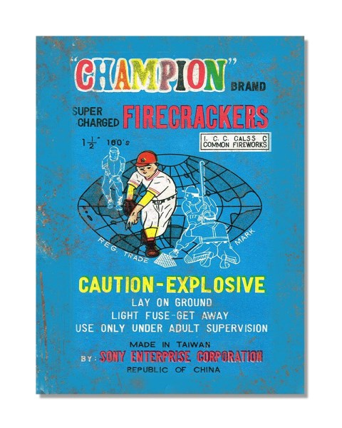 Champion Brand Supercharged Flash Firecrackers - Fireworks - Vintage Metal Sign