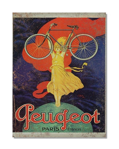 Peugeot Cycle - Vintage Bicycle Advertisement Wall Sign