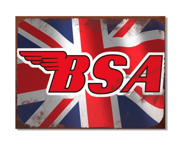 BSA Motorcycles Logo Union Jack - Automotive Metal Garage Wall Sign