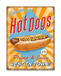 Hot Dogs Plump And Juicy - Vintage Restaurant Wall Sign