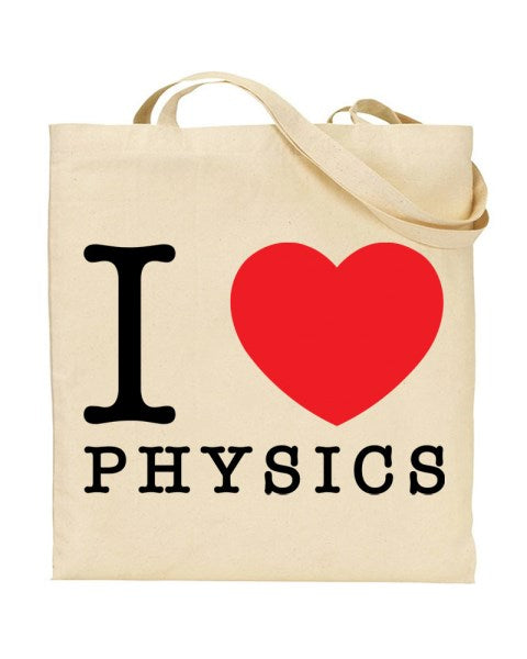 I Love (Heart) Physics Canvas Shopper Tote Bag