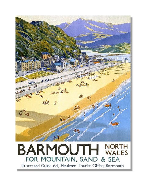Barmouth Travel By Train British Railways - Vintage Railway Metal Wall Sign