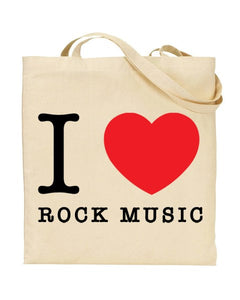 I Love (Heart) Rock Music Canvas Shopper Tote Bag