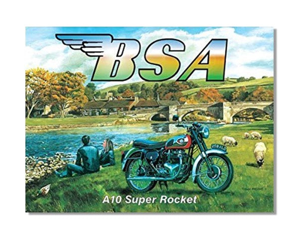 BSA Motorcycles A10 Super Rocket Countryside - Automotive Metal Garage Wall Sign