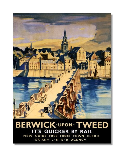 Berwick-Upon-Tweed It's Quicker By Rail - LNER Vintage Railway Metal Wall S
