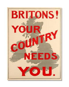 Britons Your Country Needs You WW1 Propaganda - Vintage World War Metal Sign