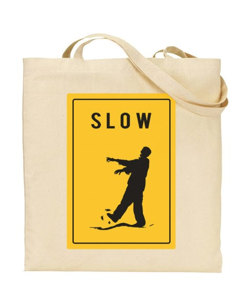 Warning Slow Zombies Sign Canvas Shopper Tote Bag