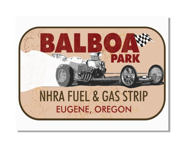 Vintage Drag Race Art Balboa Park - Vintage Automotive Metal Garage Wall Sign