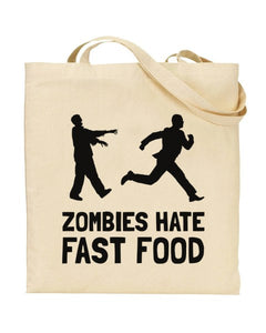 Zombies Hate Fast Food - Funny Canvas Shopper Tote Bag
