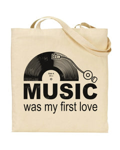 Music Was My First Love Canvas Shopper Tote Bag