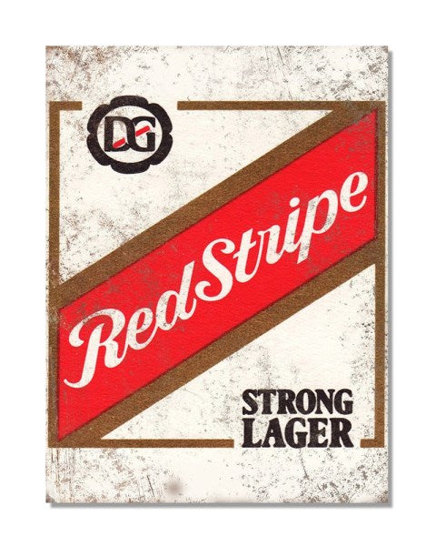 Red Stripe Strong Larger - Vintage Advertisement Metal Wall Sign