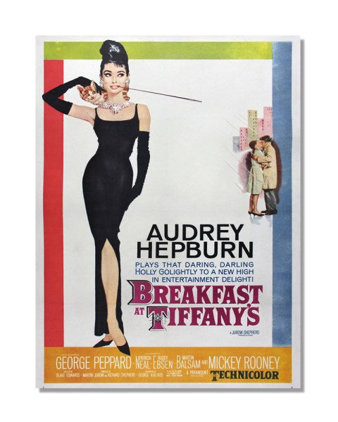 Breakfast At Tiffany's - Audrey Hepburn - Vintage Movie Poster Metal Wall Sign