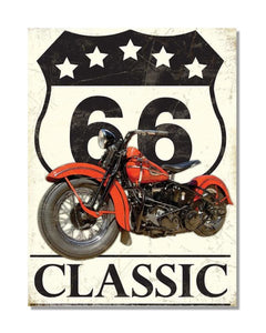 Route 66 Classic Diner Motorbike - Automotive Metal Garage Wall Sign